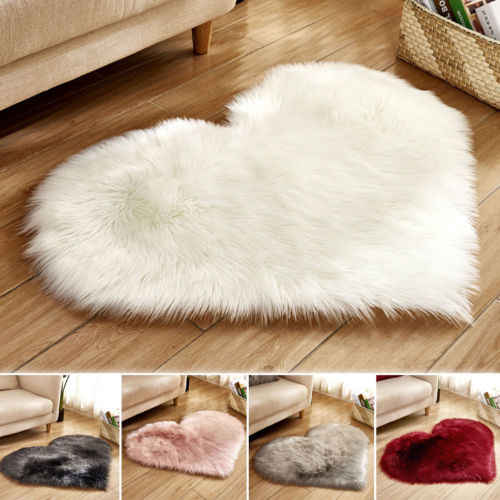 Hot Heart Shape Fluffy Rugs Anti-Skid Shaggy Area Rug Dining Room Home Bedroom Carpet Floor Mat 30*40cm