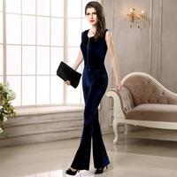 2018 New Winter Sleeveless Elastic Velvet Jumpsuit Zipper Slim Black and Blue 2 Color Leisure Wide Leg Pants Womens Rompers