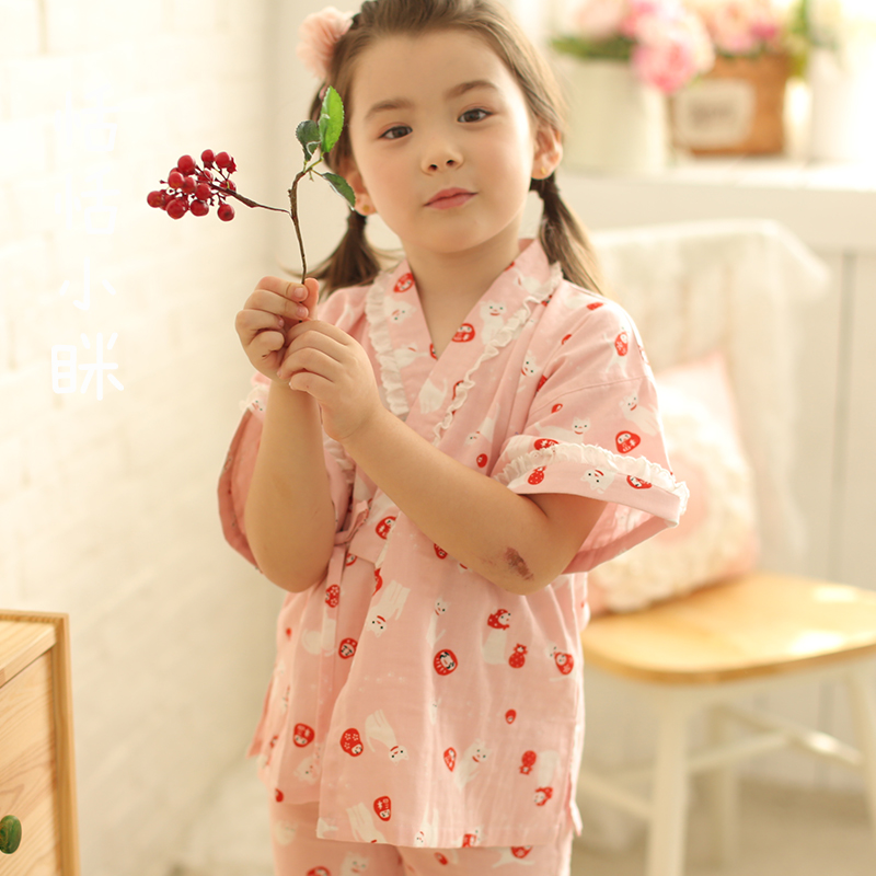 2017 autumn pijamas infantil kids boys girls sleepwear baby clothes kimono peacock flower silk robes