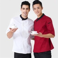 French Restaurant Cook Suit Uniform Three Quarter Sleeve Short Sleeve Chef Coat, Summer Top Chef Jacket,Free Shipping,J06