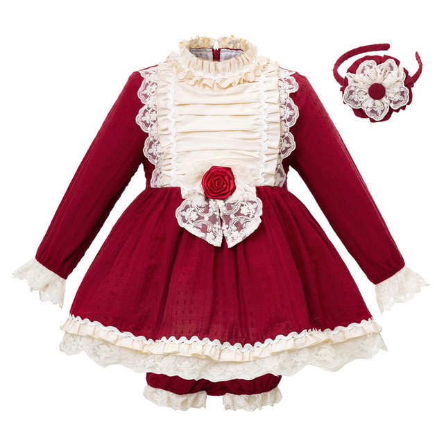 0b68e1acd Pettigirl New Red Autumn Girl Clothing Set Christmas Dress+PP Pants Ruffled Lace  Girls Suits Boutique Kid Outfits 1-8 years
