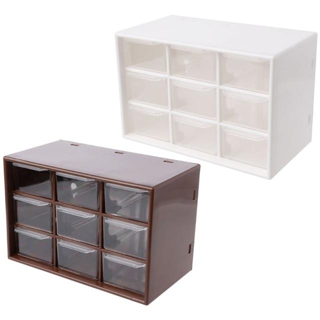 9 Drawer Plastic Storage Cabinet Desktop Makeup Bin Box Jewellery Organizer Brown/White  sc 1 st  AliExpress.com & 9 Drawer Plastic Storage Cabinet Desktop Makeup Bin Box Jewellery ...