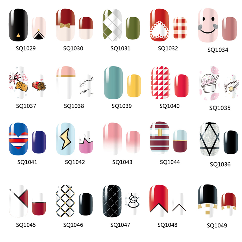 14 Tips NAIL Art Full Cover Self Adhesive Stickers Polish Foils Tips Wrap Decal Manicure Marble Gradient Candy Colors 24 styles french manicure diy 3d nail art tips guides stickers stencil strip nail hollow stickers nail art