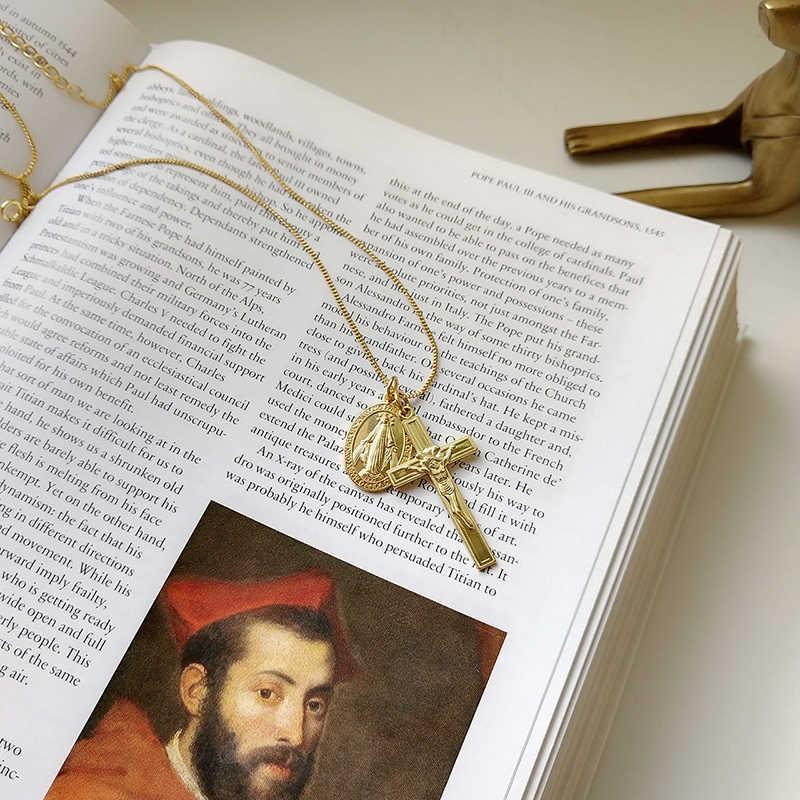 Peri'sBox 925 Sterling Sliver Virgin Mary Jesus Pendant Necklaces Minimalist Cross Chokers Layering Necklaces for Women Bijoux