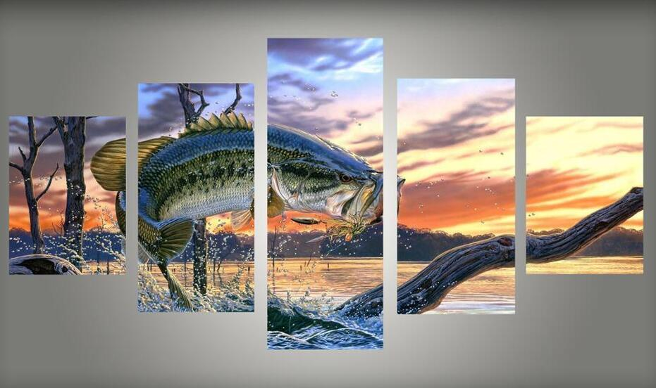 Abstract original decor large framed wildlife fish out of for Poster decoratif
