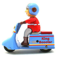 Adult Collection Retro Wind up toy Metal Tin The King scooter Mechanical toy Clockwork toy figures model kids christmas gift