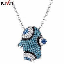 KIVN Fashion Jewelry CZ Cubic Zirconia Hamsa Turkish Blue eye Womens Girls Bridal Wedding Pendant Necklaces Birthday Gifts