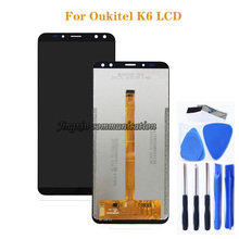For Oukitel K6 LCD + touch screen digitizer component repair parts 100% new replacement K6 LCD glass panel display components for honey well hhp lxe mx7 lcd display inner screen and touch screen digitizer panel parts 100