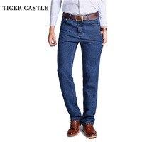 TIGER CASTLE Large Size 40 42 Cotton Mens Classic Denim Jeans Quality Black Solid Designer Male