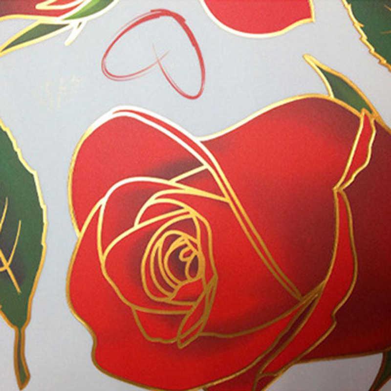 אדום ורדים קיר מדבקות סלון חדר שינה זוג ספה רקע עיצוב הבית אמנות מדבקות פרחי ציורי קיר 6A1000