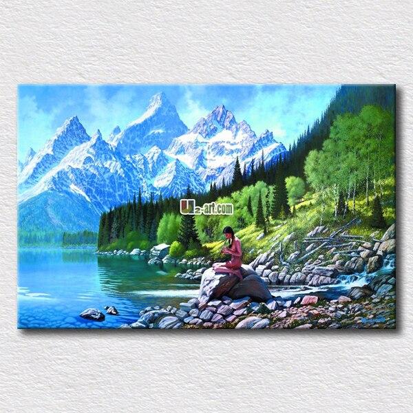 Femme Nue Avec Un Beau Paysage Peinture à L'huile-6856