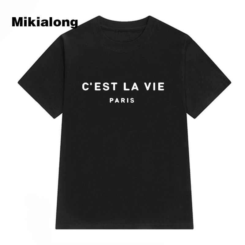 T Shirt kadın 2019 yaz Camiseta Mujer kısa kollu Poleras Mujer üst Tee gömlek Femme Paris baskılı tişörtleri pamuk kadınlar tops