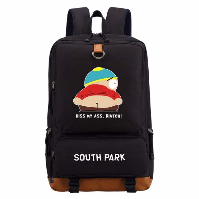 f7186d214ddb US $24.35 6% OFF|WISHOT Funny Cartoon South Park Kiss My Ass casual  backpack teenagers Bookbag Student School Bags travel Laptop Bags -in  Backpacks ...