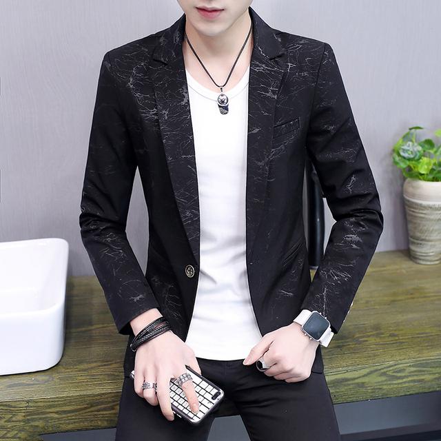 COO 2018 men fall thin leisure blazer young fashion handsome printed piece blazer