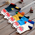 New arrival free shipping three-dimensional color block decoration 100% cotton male female kid child sock