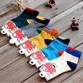 Nueva llegada del envío libre tridimensional decoración del bloque del color 100% algodón hombre mujer niño niño calcetín