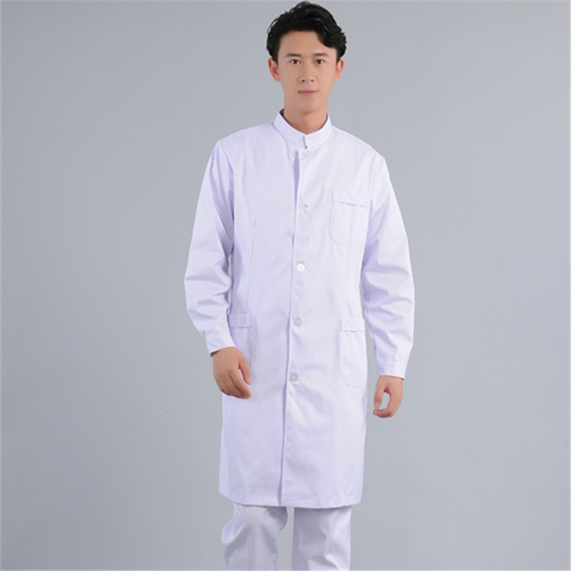 Male Doctor Wears Long-sleeved White Gown And Plastic Surgeon Uniform Oral Dental Work Uniform Experiment White Classic