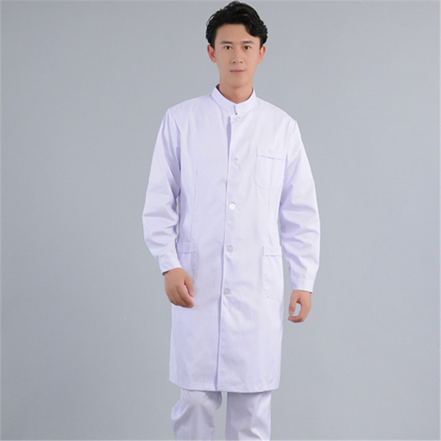 Male doctor wears long sleeved white gown and plastic surgeon ...