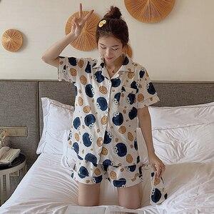 Image 4 - Caiyier Cute Monster White Print Short Pyjamas Women Cotton With Eye Mask Sleepwear Sexy Ladies Summer Sweet Pijamas 3pcs