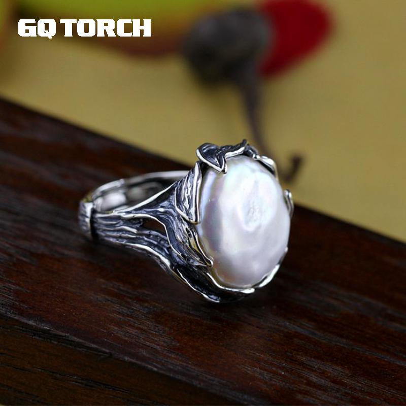 Original fait à la main 925 en argent Sterling Baroque perle anneau véritable naturel d'eau douce perle Vintage Thai argent traitement