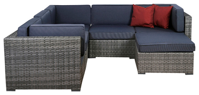 2017 New Design 6 Piece Grey Wicker Seating Set With Grey Cushions(China  (Mainland