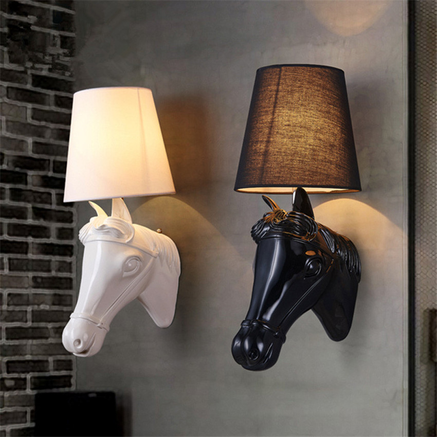 Modern European Horse bedroom bedside Wall lamps,Creative Nordic aisle Led Wall lights Stair lights Sconce lighting Fixtures