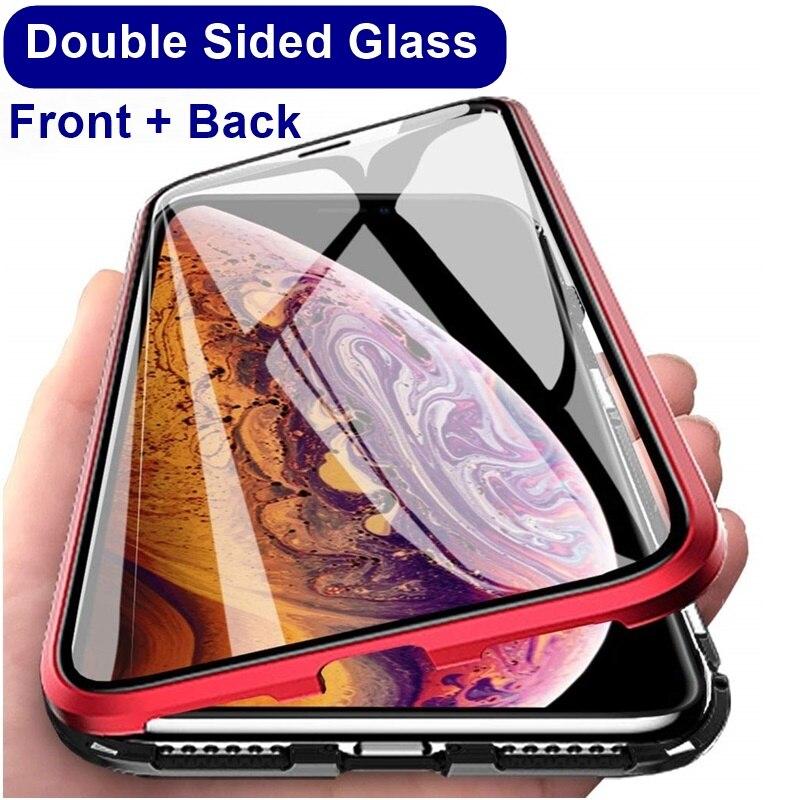 Neueste Magnetische Fall Für Iphone XS MAX X 7 8 Plus Coque Metall Telefon Abdeckung Doppel Seite Gehärtetem Glas 360 funda Cases Fundas Capa