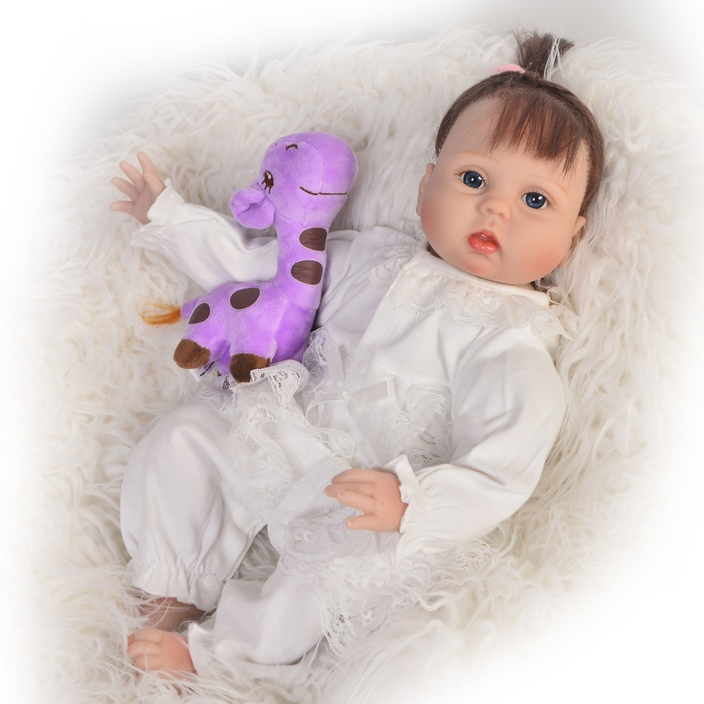 KEIUMI Simulate Newborn Baby Toy Handmade 22'' Soft Silicone Vinyl Reborn Baby Girl Dolls Rooted Fiber Hair 55 cm Kids Playmates
