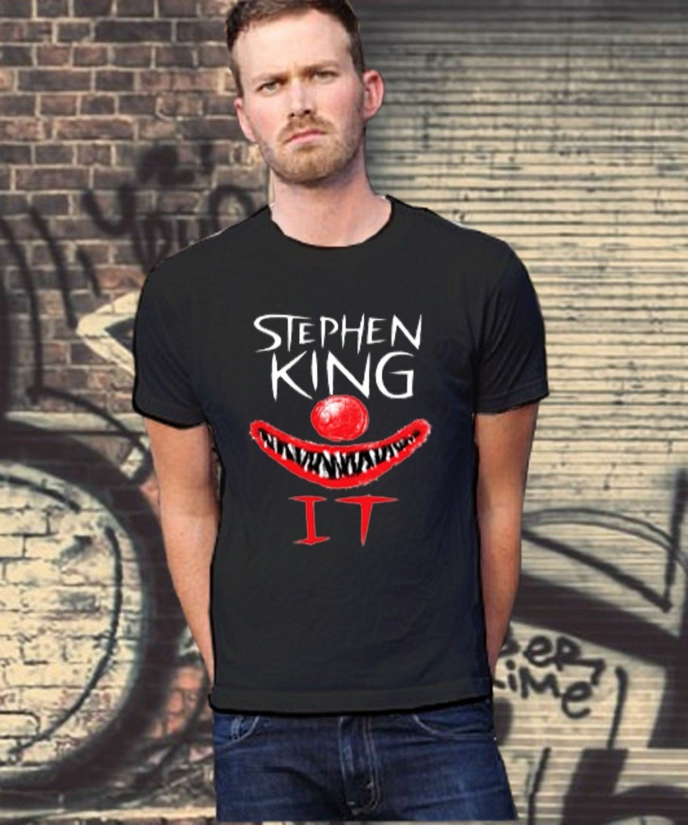 T Shirts With Sayings Men's Crew Neck It Steven King Official Shirt Logo T-Shirt White Or Black Tee Size S-3Xl Short Top T Shirt