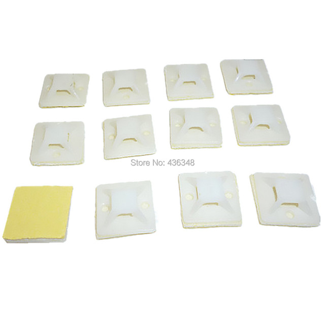 100pc Cable Tie Wrap Base Self Adhesive Mounts Zip Ties Mount Wire