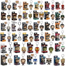 FUNKO POP New Marvel Spider Chivalrous U.S.A Captain Pikachu One Piece Luffy IT Law Harri potter KeyChains toy for children gift