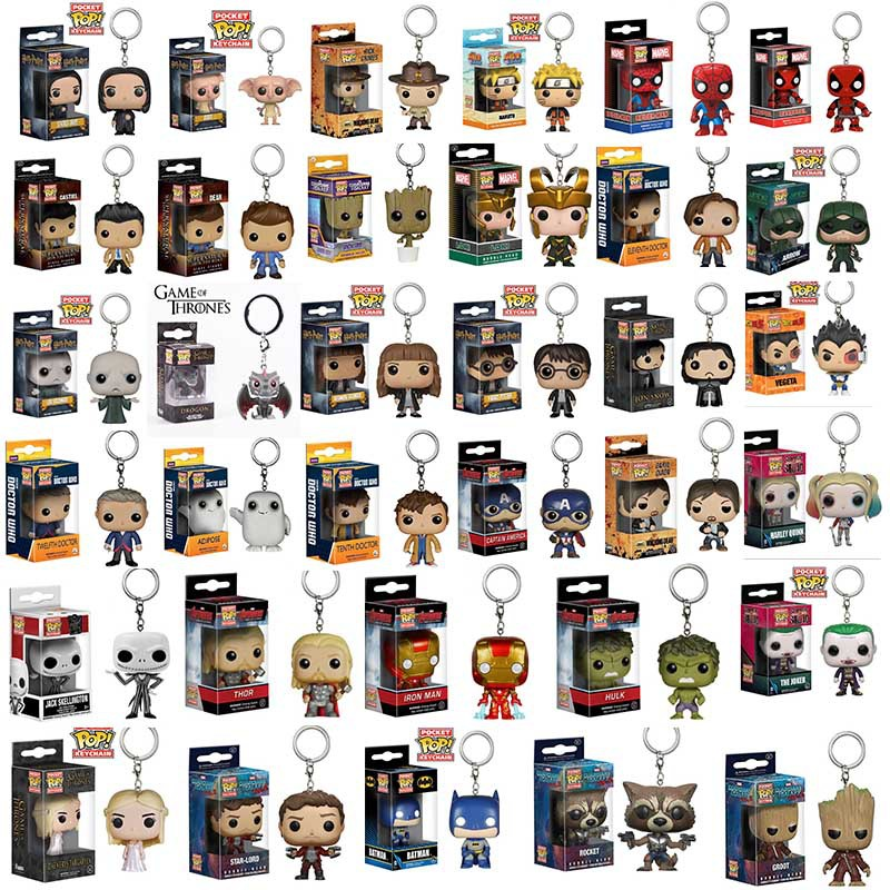 FUNKO POP New Marvel Spider Chivalrous U.S.A Captain Pikachu One Piece Luffy IT Law Harri potter KeyChains toy for children gift image