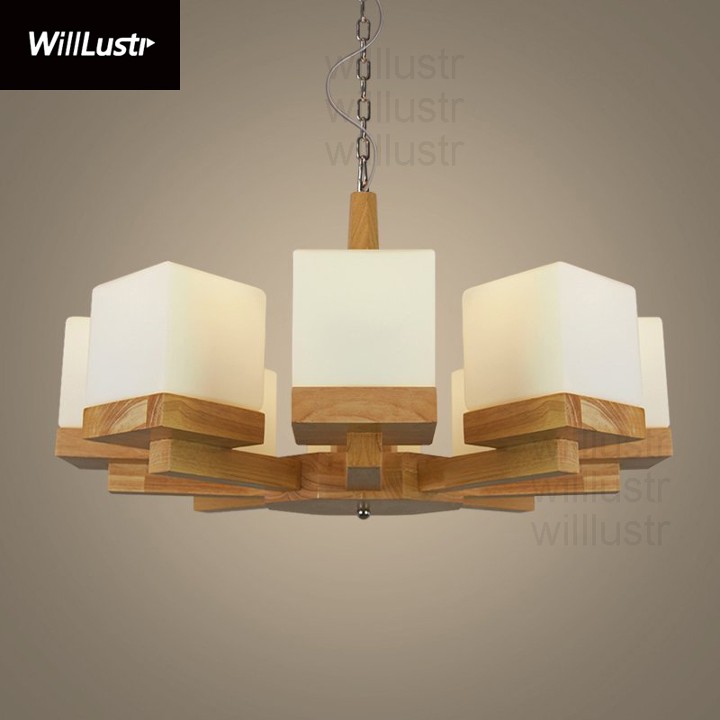 Willlustr Oak Wood Frame Cubi White Frosted Glass Pendant Lamp Suspension Light Hanging Lighting Rest Room Hotel Restaurant
