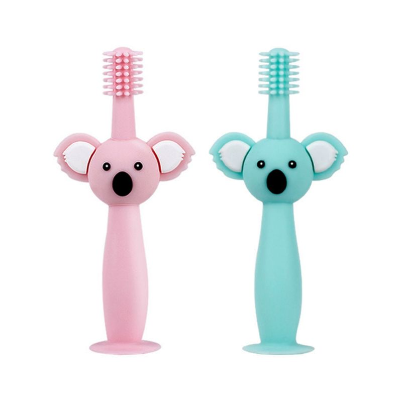 360degree Baby Toothbrush Koala Head Handle Infant Brushing Teeth Training Safe Design Soft Healthy Silicone Toddler Oral Care image