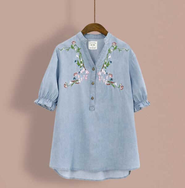 Bordado floral de la vendimia con cuello en v manga corta camisa de mezclilla su