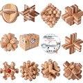 10 ШТ./ЛОТ Бамбука С CD Игрушки Классический IQ 3D Деревянный Разум Логические Блокировка Burr Пазлы Игры Игрушки для Взрослых дети