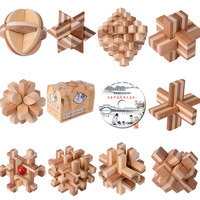10PCS LOT Bamboo With CD Toys Classic IQ 3D Wooden Interlocking Burr Puzzles Mind Brain Teaser