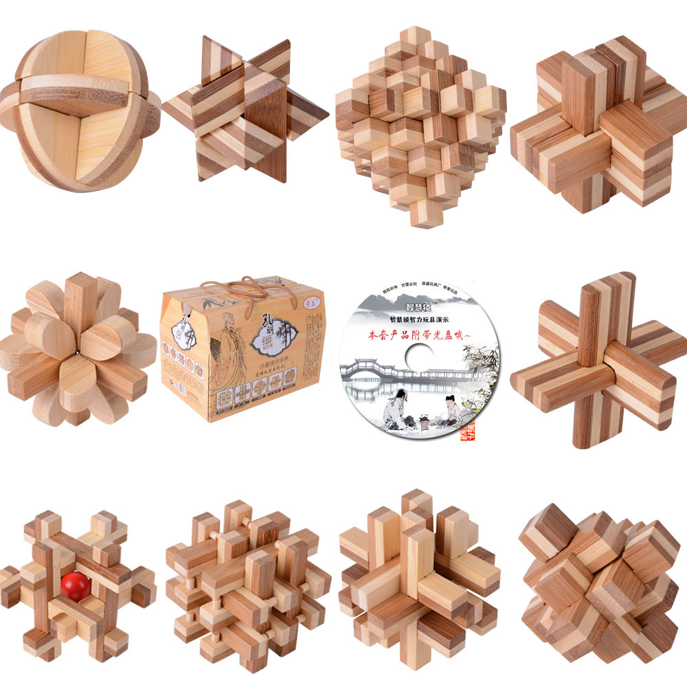 10PCS/LOT Bamboo With CD Toys Classic IQ 3D Wooden Interlocking Burr Puzzles Mind Brain Teaser Game Toy for Adults Children classic peg solitaire solo noble puzzle iq mind brain teaser puzzles board wooden game toys for adults children