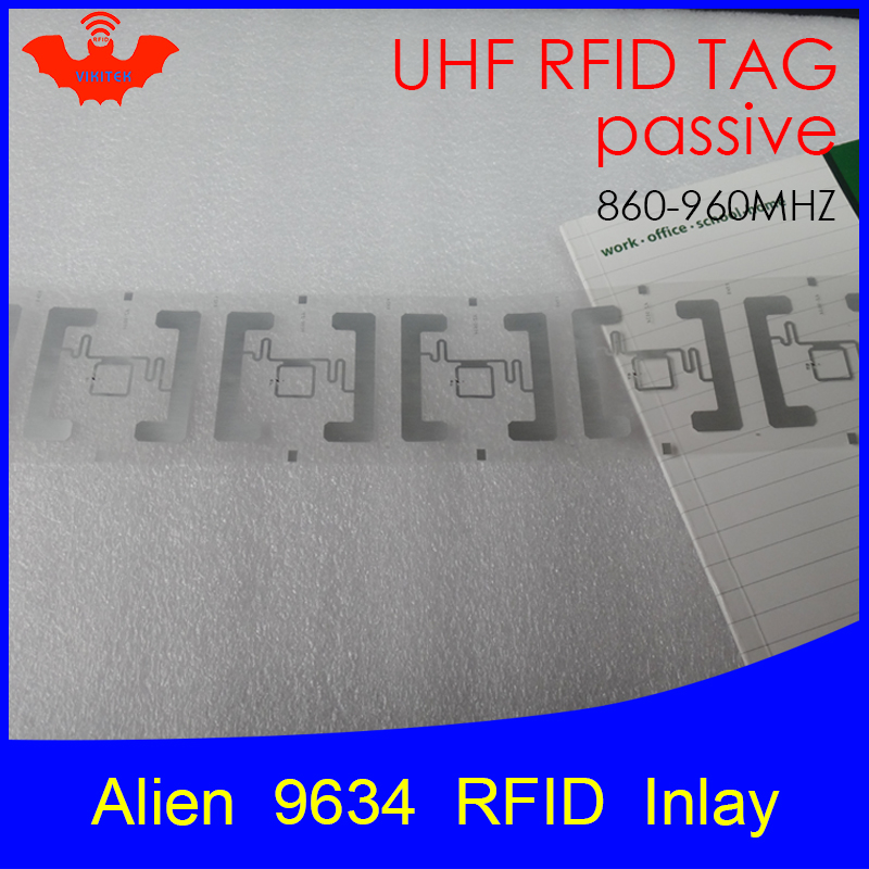 UHF RFID Tag Alien 9634 Inlay 915mhz 900mhz 868mhz 860-960MHZ Higgs3 EPC Gen2 ISO18000-6c Smart Card Passive RFID Tags Label