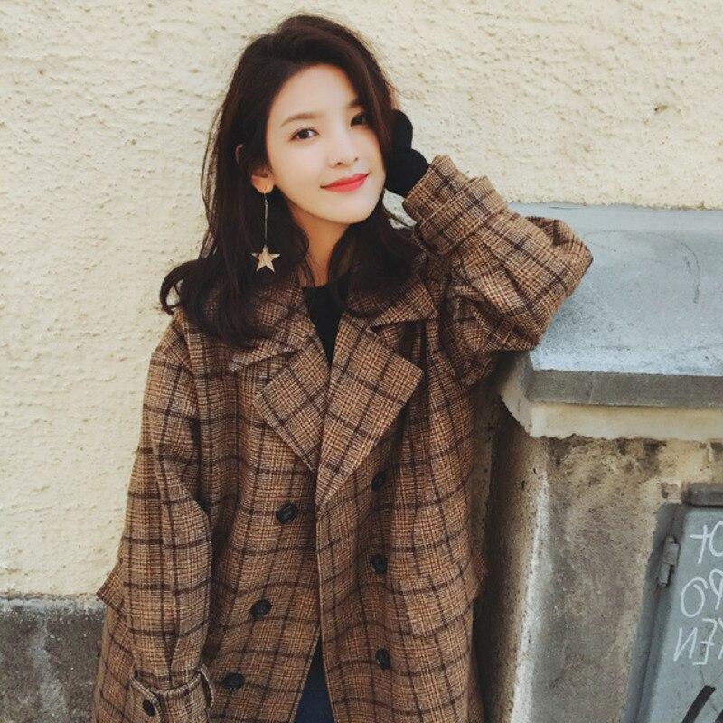 Vintage Plaids Clothes Loose Woollen Coat Women s New Checked Coat Baggy Silhouette Overcoat Tweeds Winter