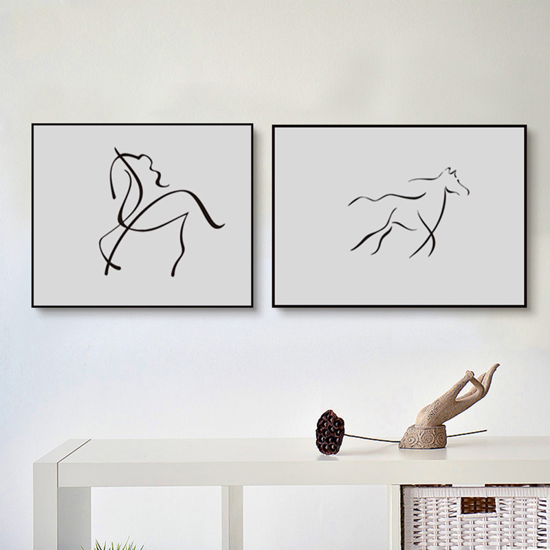 Nordic wall art picture minimalist black white drawing for Decoration minimaliste