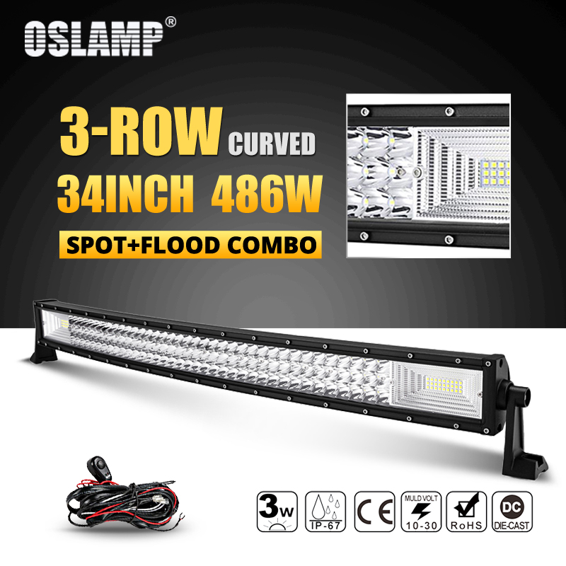 Oslamp 486W 34inch 3-row Curved LED Light Bar Offroad Combo Beam Led Work Light Bar 12v 24v Truck SUV ATV 4WD 4x4 Led Bar Lights 3 row 32 inch 459w curved led light bar offroad led bar flood spot combo beam for jeep atv 4wd truck suv 12v 24v led work light