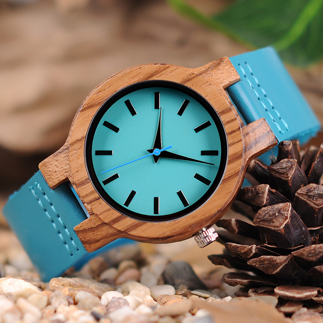Classic Zebra Wood Indigo Blue Design Quartz Watch