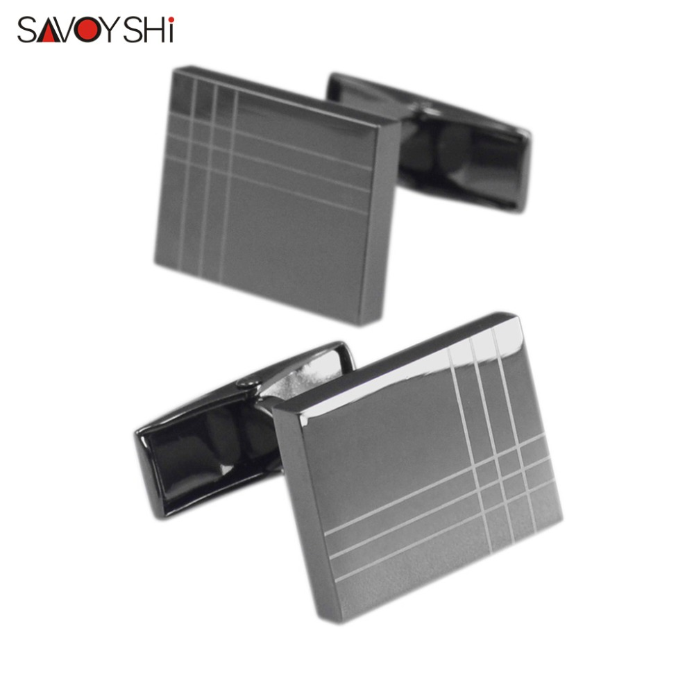 SAVOYSHI Classic Black Shirt Cufflinks For Mens Cuff Bottons High Quality Square Cuff Links Brand Gift Jewelry Free Custom Name