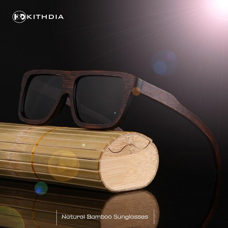 Kithdia madeira óculos de sol marca designer polarizado condução bambu óculos de sol quadros de sol feminino