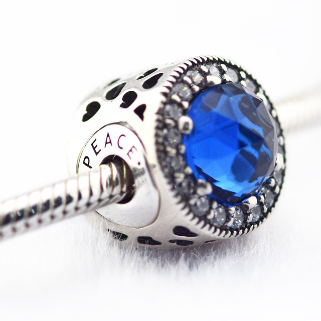 251c1437d ... Fits for Pandora Essence Bracelets Peace Charms With Blue CZ 100% 925 Sterling  Silver Beads ...