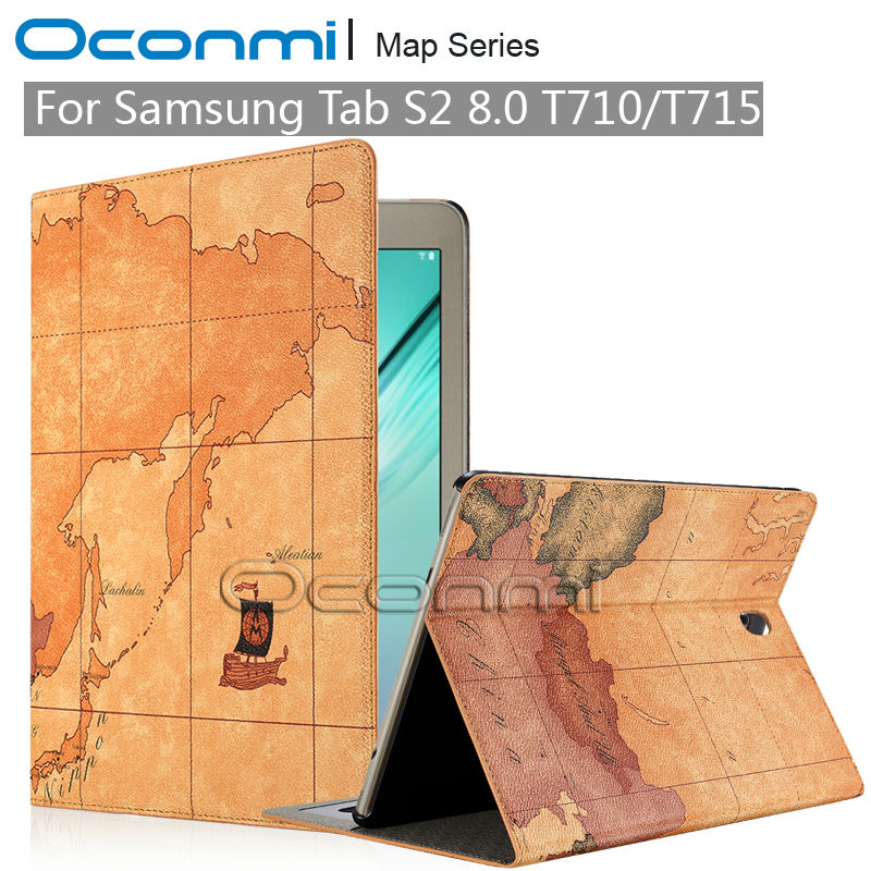 Map PU Leather case for Samsung Galaxy Tab S2 8.0 inch with credit card slots SM-T710 SM-T715 leather cover case stand function