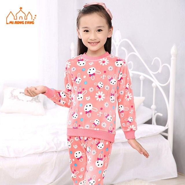 6c5f7faa Caliente del invierno Lindo Niñas Pijama Establece Niños Personaje de  Dibujos Animados de Poliéster Spandex Paño