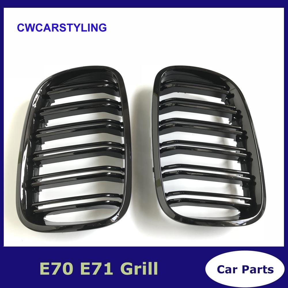 زوج اليسار واليمين E70/E71 لمعان أسود مزدوج شريحة الكلى المصد الأمامي شواء لسيارات BMW X5 X6 2007-2014