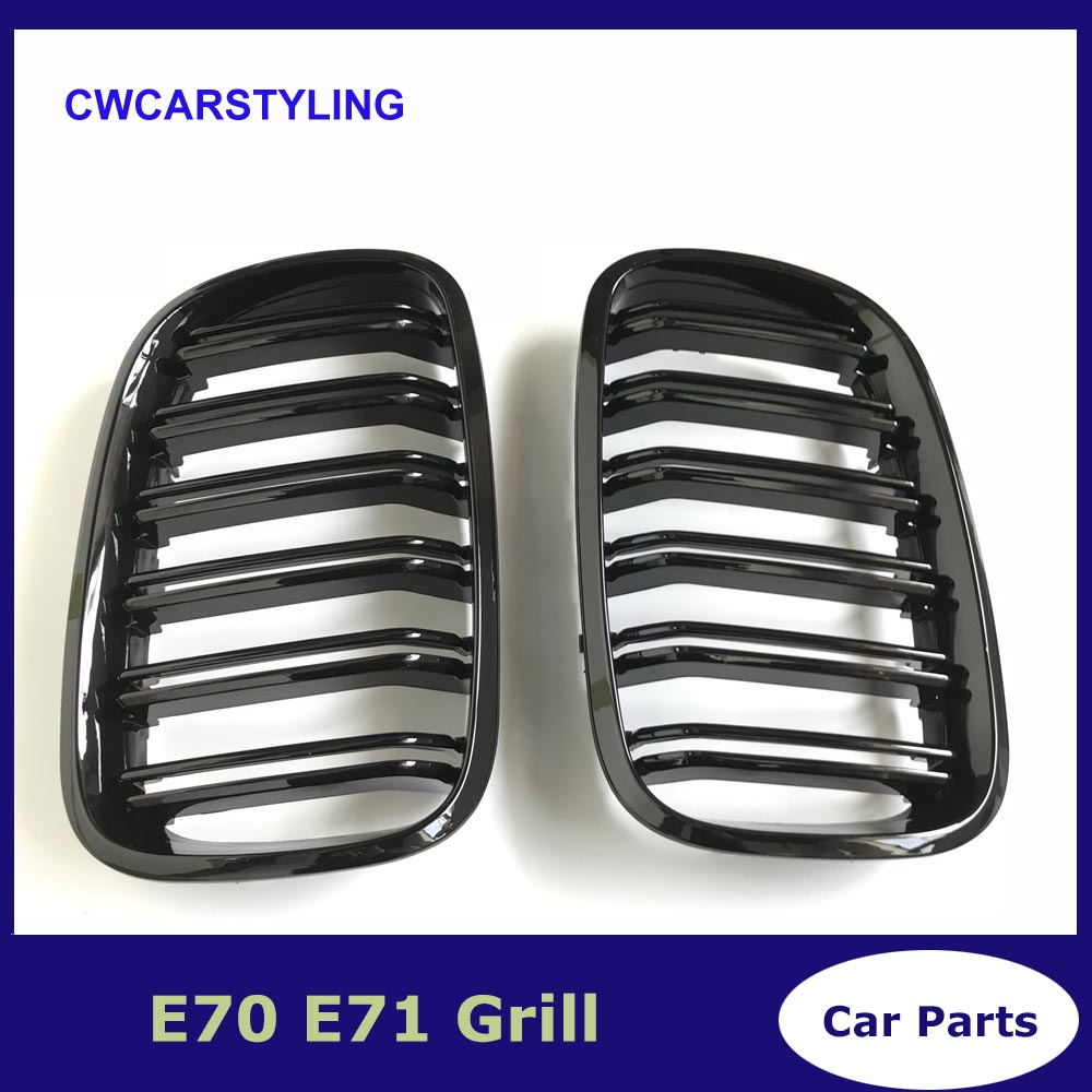 A Pair Left And Right E70 / E71 Gloss Black Double Slat Kidney Grille Front Bumper Grill For BMW X5 X6 2007-2014